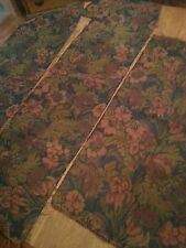 Vintage Upholstery Brocade Fabric Remnants Floral Leaves Rich Cranberry Green s