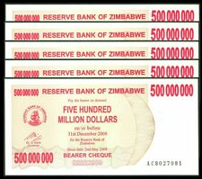 TWN - ZIMBABWE 60 - 500000000 D. 1994 UNC AC Dealers x 5 - FREE SHIPPING €150+