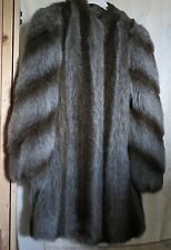 Jordache Faux Fox Raccoon Fur Coat Lined Insulated Knee Length size S