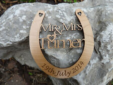 Personalised 5th Wedding Anniversary Horseshoe: Wood, Gift, couple