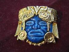 1960s SALVADOR TERAN 22K Yellow Gold Plated BLUE MAYAN MASK BROOCH for Marbel SA