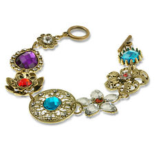 Lady Vintage Bronze Noble Hollow Crystal Flower Bib Statement Celebrity Bracelet
