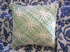 "Vintage Green White Cotton Chenille Bedspread 16"" Throw Pillow with Insert"
