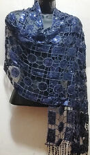 Blue Fashion Circle Lace Sequin Design Light Thin Scarf Shawl Wrap Party Style