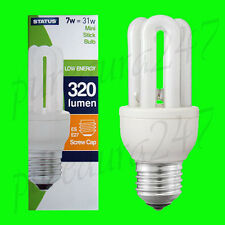 2x 7W (=31W) Low Energy Power Saving CFL Mini Stick Light Bulb ES E27 UK STOCK