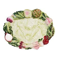 French Market Collection Serving Platter - White Green Pink - Fitz & Floyd - ...