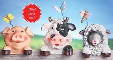 Country Barnyard Animals Outdoor Fence Toppers Pig Cow Lamb Decoration 3-PC Set