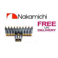 12x PCS 24K NAKAMICHI RCA Jack Plug Locking Connector 10mm **UK**