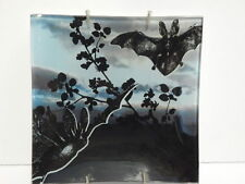 BAT Black BLUE Gothic DECORATIVE PLATE Tray w/ hanger BLACK THISTLE Gift