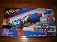 NEW Rare Nerf Elite Blue Alpha Trooper CS-12 Blaster Gun NIB HTF NEXT DAY SHIP