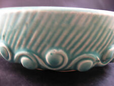 McCoy Green 1940s Bulb Bowl Scroll Wave Planter Antique Pottery