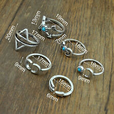 Set 6pc Boho Antique Silver Moon Arrow Scorpion Pattern Ring Band 15-19mm