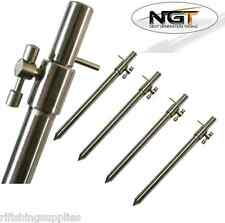 4 x CARP FISHING STAINLESS STEEL LONG EXTENDABLE BANK STICKS 50-90CM NGT TACKLE