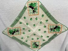 Scotty Scottie Dogs Black And Green  Faces And Grid Handkerchief
