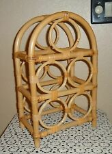 VINTAGE TIKI BAR RATTAN WINE BOTTLE RACK ROLLING PIN HOLDER FLOOR COUNTER TOP
