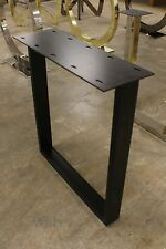 "27"" H Set of base legs black iron mounting plate dining table slab wood concrete"