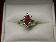 Marquise Cut Natural Ruby & Halo Diamond Ring .51ct tw 10K White Gold