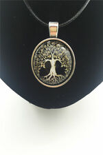 Vintage Golden Tree Life Cabochon Glass Tibet Silver Pendant Leather Necklace #2