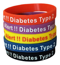 Diabetes Medical Alert Type 2 Silicone ID Rubber Bracelets Diabetic (Set of 5)