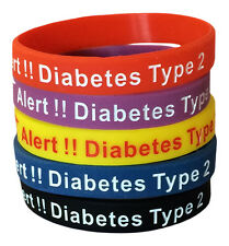 Diabetes Bracelet Medical ID Type 2 Silicone Alert Awareness Rubber(Set of 5)