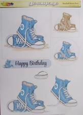 3D A4 Paper Tole Blue Gym Boots Boy 1 Picture + 2 Toppers Card Making New