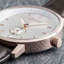 DETOMASO MILANO MENS ROSE GOLD S-STEEL WATCH SWISS MOVEMENT BROWN LEATHER NEW