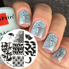 1pc Feather Bamboo Mask Nail Art Image Stamp Template Manicure Born Pretty BP18