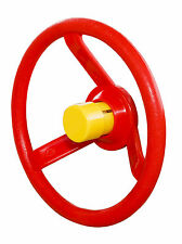 STEERING WHEEL RED SOLID PLASTIC + YELLOW HORN KIDS CLIMBING FRAMES - FREEPOST