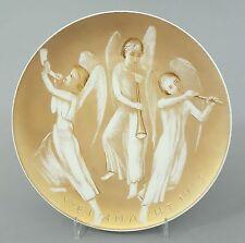 (K209) Seltener KPM Berlin Weihnachtsteller von 1933, goldener Fond mit 3 Engeln