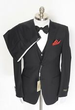 New CANALI Black Striped All Season Wool Peak Lapel 3pc Suit 54 8R 44R NWT