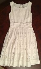 Next girls white floral cut out belted summer dress - 11 yrs