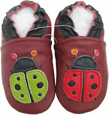 carozoo ladybug dark red 5-6y new soft sole leather kid shoes