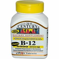 21st Century Vitamin B12 5000mcg High Potency Tablets 110ct -FREE WORLDWIDE SHIP