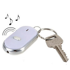 LED Key Finder Schlüsselanhänger Locator Sound Control Whistle Weiß