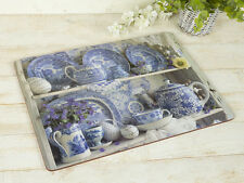 Set of 4 BLUE & WHITE CHINA Large Premium CORK-BACKED PLACEMATS