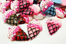 Free Shipping - 15pcs ice Cream CUPCAKE with rhinestone Cabochons Flat back F234