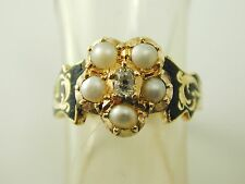 Diamond pearl mourning ring IN MEMORY OF Victorian 18 carat gold dated 1844 4.8g