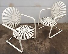 French Deco Springing Cantilevered Garden Lounge Chairs by Francois Carre Vintag