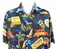 Disney Store XL Hawaiian Shirt Mickey Minnie Mouse Goofy Donald Duck Luau Beach