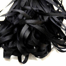 ONE METRE OF SOFT SILK RIBBON, JET BLACK COLOUR, 4 MM WIDE