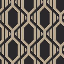 Wallpaper Modern Retro Diamond Geometric Trellis Gold on Black Background