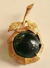 Vintage French Designer GRIPOIX Cabochon 24 ct Gold Plated BROOCH - Unsigned