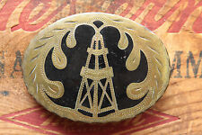 Vintage Hand Made Engraved Oil Rig Inlay Western Belt Buckle Brass Overlay