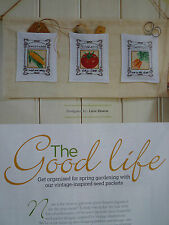 Vintage Seed Packets Cross Stitch Chart Spring Gardening Tomato Carrot Peas (A2)
