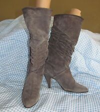 New listing Vintage 1980s Gray Suede leather slip on high heel boots Danelle women's sz. 6.5