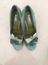 FAITH Teal Green Leather / Suede Heeled Moc Croc Sandals Heels Size  6 VGC
