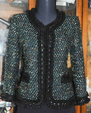 ST JOHN COUTURE BLACK w SHIMMERING MULTI COLOR/ RIBBON LACE TRIM JACKET SZ 6