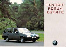 SKODA favorit Forum Estate 1992-93 marché britannique foldout la brochure commerciale