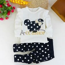 2pcs Kid Baby Girls Minnie Mouse Bow T-shirt+Pants Clothes Set Outfit For 9-12 M