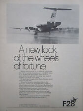 1/1972 PUB FOKKER AIRCRAFT HOLLAND FOKKER F28 FELLOWSHIP ORIGINAL AD